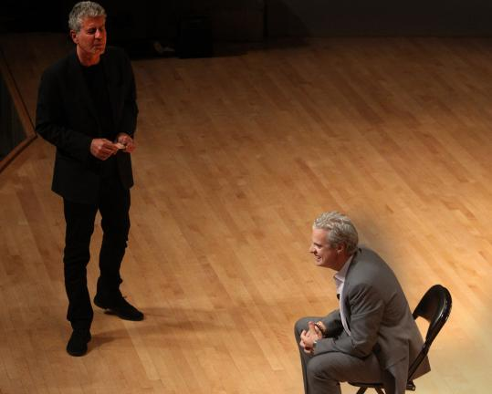Anthony Bourdain stood during his interrogation of fellow chef and TV personality Eric Ripert Friday night at Symphony Hall.