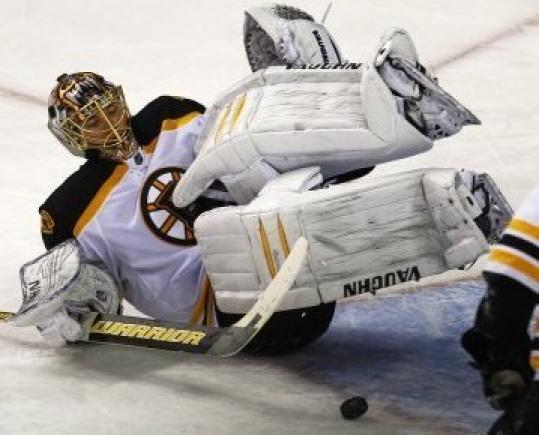 Tuukka Rask was flattended on this second-period goal.