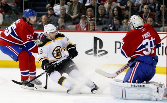 After Tuesday's loss to the Canadiens, Rich Peverley was shifted from left to right wing and moved to the second line.