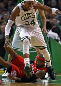 Clippers guard Mo Williams hits the deck during a scramble for a loose ball in the first half with the Celtics' Paul Pierce.