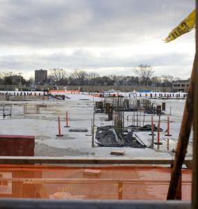 Harvard's $1 billion science center in Allston ground to a halt in 2009 and there's no telling when work might resume.