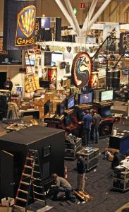 Workers prepared the Penny Arcade Expo at the Boston Convention and Exhibition Center.