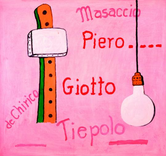 "Philip Guston's ""Pantheon,'' painted in the artist's signature pink, features the names of five Italian artists."