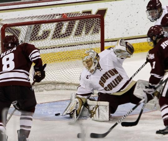 The 18 saves made by John Muse pulled him into a tie for the most by a BC player in his career.
