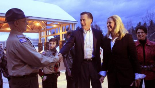 Mitt Romney, accompanied by his wife, Ann, appeared tieless in Bartlett, N.H., this month for an event.