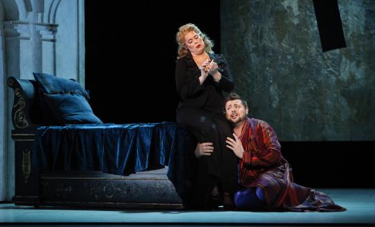 "Caroline Worra as Agrippina and David Trudgen as her son, Nerone, in rehearsal for Boston Lyric Opera's production of Handel's ""Agrippina.''"