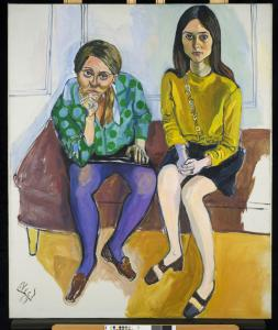 Alice Neel&#8217;s portrait of Kiki Djos (left) and Nancy Selvage, &#8220;Wellesley Girls,&#8217;&#8217; was painted in 1967.