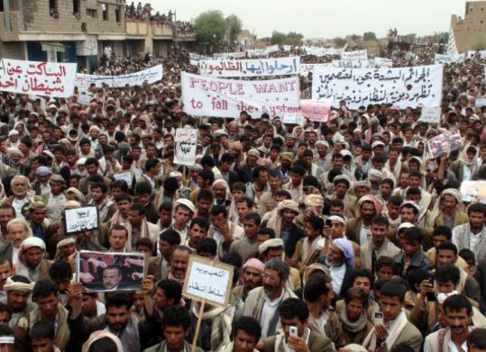 Antigovernment protesters in Saada, Yemen, called for the ouster of President Ali Abdullah Saleh yesterday.