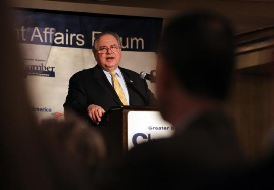 House Speaker Robert A. DeLeo spoke yesterday at the Greater Boston Chamber of Commerce's Government Affairs Forum.