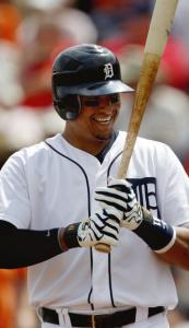 Detroit&#8217;s Victor Martinez has a laugh with catcher Jason Varitek in the second inning.