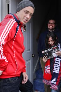 Revolution player Chris Tierney visited Suzie MacDonald and her dad, Jesse, yesterday.