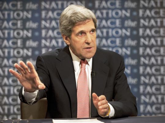 "Senator John Kerry's call yesterday echoed one he made previously in an appearance on CBS's ""Face The Nation.''"