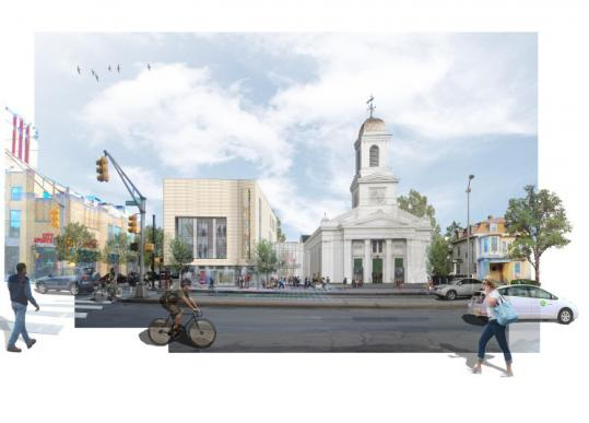 A rendering of the planned Art Institute of Boston (left of the church). Officials hope to break ground in the fall or winter.