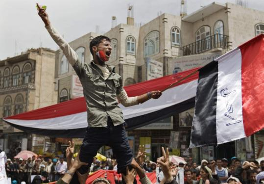 Yemeni demonstrators in Sana shouted slogans during a protest against the regime of President Ali Abdullah Saleh.