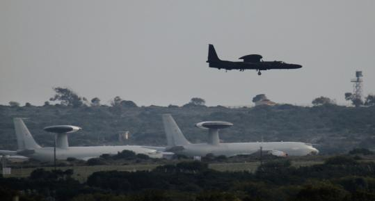 British AWACS aircraft were stationed at Akrotiri, a military base near Limassol, Cyprus, yesterday. Britian will also use Typhoon and Tornado fighters to enforce a Libyan no fly zone.