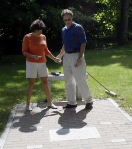 In 2003, Lauren Rosenzweig and Michael Sweeney visited the Acton Center memorial dedicated to their late spouses.