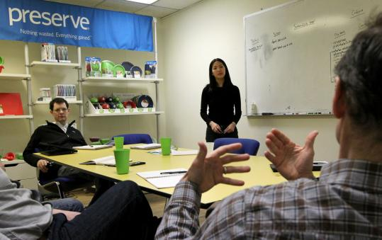Ben Anderson, Christie Lee, and Eric Hudson brainstormed at Preserve, which makes household goods out of recycled plastic.