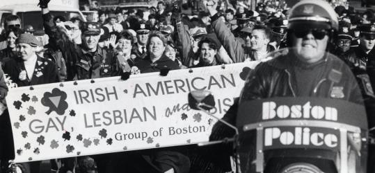 The Irish American Gay, Lesbian and Bisexual Group of Boston marched with a police escort in the 1992 St. Patrick's Day parade.