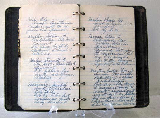 The notebook, found last year, contained the views of Connecticut legislators on the issue of women's suffrage.