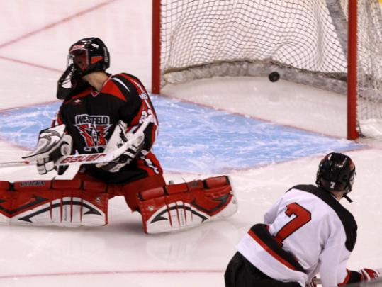 Marblehead's Hunter Graves (7) beats Westfield goalie Nick Liberto for the final goal.