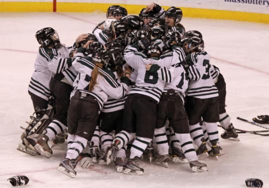 After losing to Fontbonne the past two season, Duxbury finally got to celebrate on Garden ice.