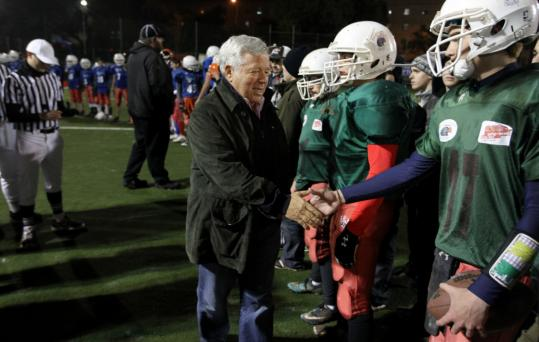Patriots owner Robert Kraft greeted players at the Kraft Family Stadium in Jerusalem earlier this month.