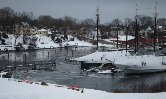 Winter takes its time exiting Camden, making room for the boats that will line the docks.