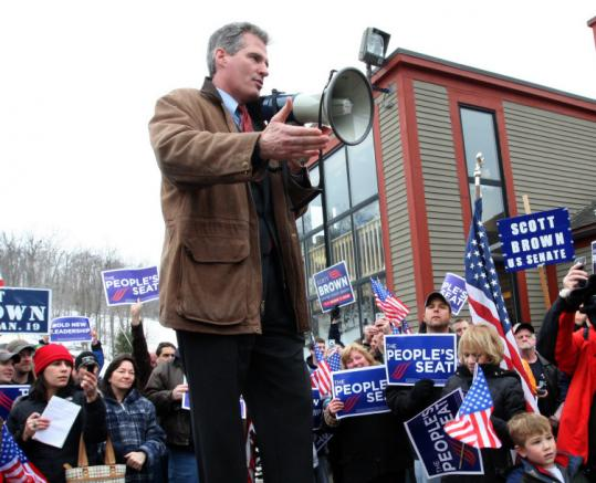 Scott Brown campaigned in Princeton in January 2010 wearing the barn jacket that helped him build his image.