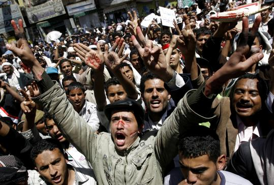 Yemeni antigovernment protesters shouted slogans yesterday demanding the ouster of President Ali Abdullah Saleh in Sana.