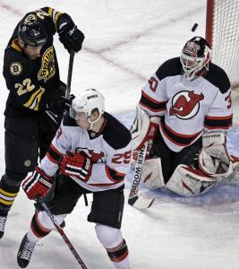 Shawn Thornton got the Bruins on the board when he tipped this first-period shot past Devils goalie Martin Brodeur.