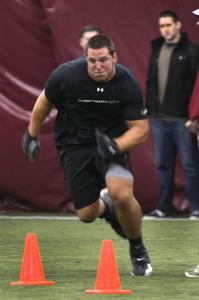 Former BC offensive tackle Anthony Castonzo, projected as a first-round pick, performs a drill at the school's Pro Day.