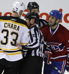 Montreal&#8217;s Scott Gomez (right) took umbrage after the controversial hit by Zdeno Chara on Max Pacioretty at the Bell Centre March 8.