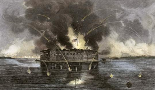 Engraved by an unknown artist in 1863, the Confederate attack on Fort Sumter in Charleston (S.C.) Harbor on April 12, 1861, signaled the start of the bloodiest war in US history.