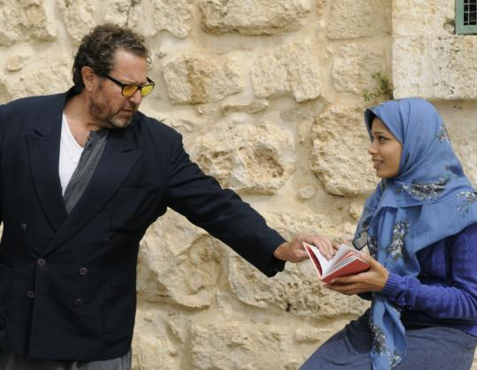 "Julian Schnabel directs Freida Pinto in a scene from ""Miral,'' in which Pinto plays a Palestinian caught up in the strife with Israel."