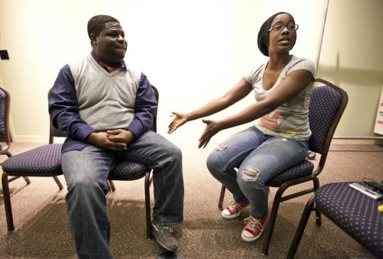 """Jermaine Tulloch and Anita Murrell rehearse for the opera """"Treemonisha,"""" which will be held April 29-30 and May 1."""