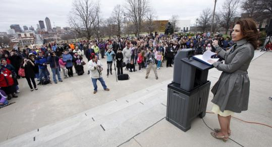 Representative Michele Bachmann, Republican of Minnesota, spoke at a rally by home-schooling advocates at the State House in Des Moines last week. She did not speak about the economy or unemployment, which are leading issues nationwide.