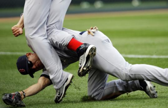 "Jacoby Ellsbury was injured in a collision early last season and missed most of the year with rib injuries. He publicly complained that he was ""playing with five broken ribs I didn't know about,'' although the Red Sox medical staff defended its care."