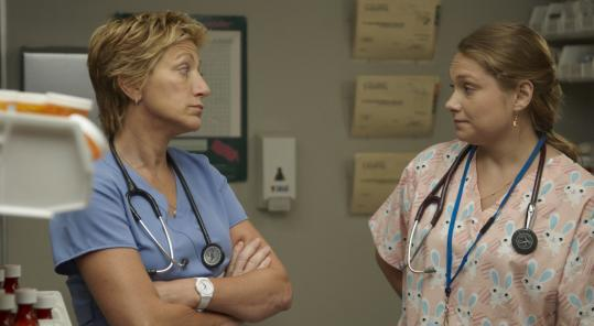 "Edie Falco (left, with Merritt Wever) returns for a third season as the pill-popping title character in Showtime's ""Nurse Jackie.''"