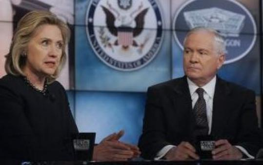 Hillary Rodham Clinton and Robert Gates appeared on talk shows yesterday.