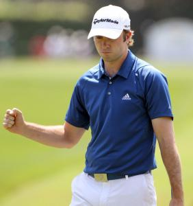 Martin Laird reacts to a par-saving putt on No. 2, before he gave away his three-shot lead at Bay Hill.