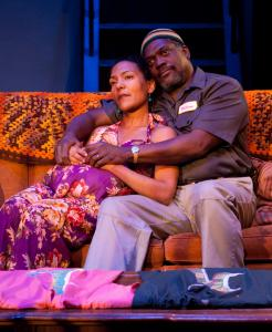 """Patrice Jean-Baptiste and Johnny Lee Davenport in Lyric Stage Company's """"Broke-ology.''"""