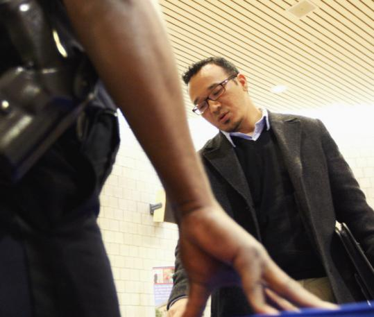With help from the Army, Tenzing Rapgyal got a degree. He looked for work at a job fair in Dorchester yesterday.