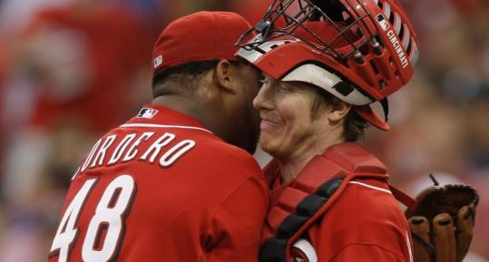 Andover's Ryan Hanigan, congratulating Cincinnati Reds reliever Francisco Cordero after a win last July, has earned a big-league job.