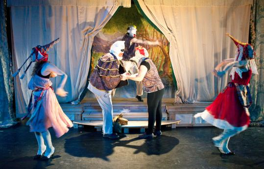 "From left: Normandy Raven Sherwood, James Stanley, Ean Sheehe (rear), Ilan Bachrach, and Jessica Hawley in the National Theater of the United States of America's ""Chautauqua!''"