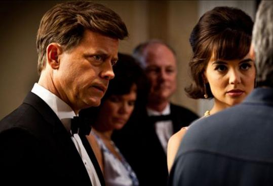 Greg Kinnear is John F. Kennedy and Katie Holmes is Jacqueline Kennedy in the eight-part miniseries.