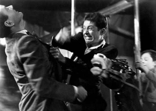 Farley Granger battled Robert Walker (left) in Alfred Hitchcock&#8217;s &#8220;Strangers on a Train&#8217;&#8217; (1951).