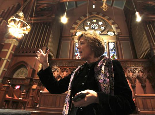 The Rev. Nancy S. Taylor spoke yesterday about the damage to the Old South Church building in December 2008.