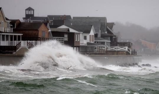 Scituate's sea wall has been hit hard by storms that pose an increasing threat, like one that recently sent waves crashing in.