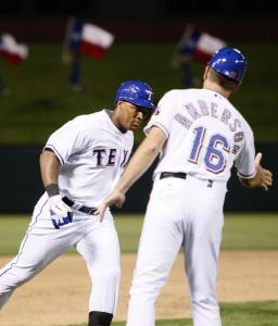 The Rangers' Adrian Beltre made the rounds after he hit a grand slam in fourth inning to give the Rangers a 9-3 lead.