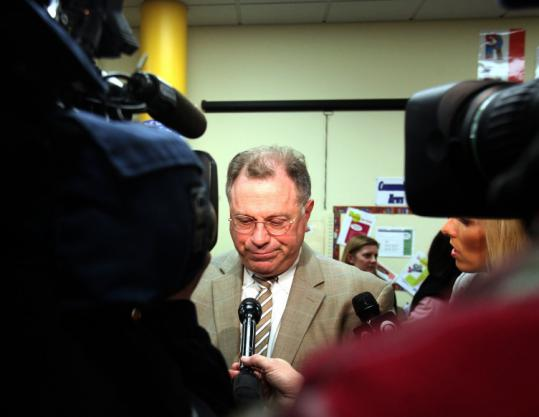 Boston Teachers Union president Richard Stutman spoke with reporters after the news conference.